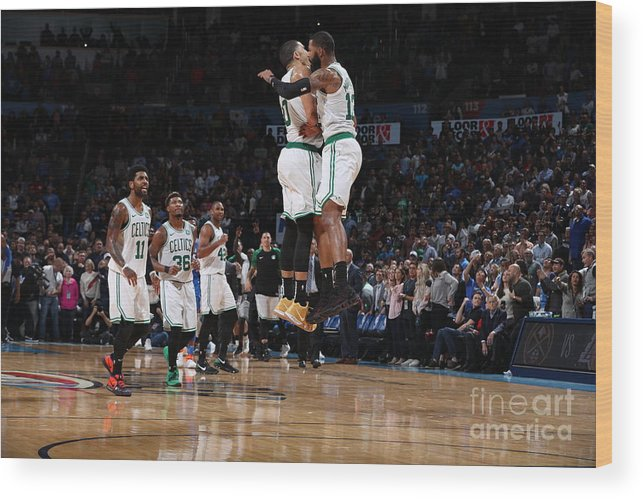 Nba Pro Basketball Wood Print featuring the photograph Jayson Tatum and Marcus Morris by Zach Beeker