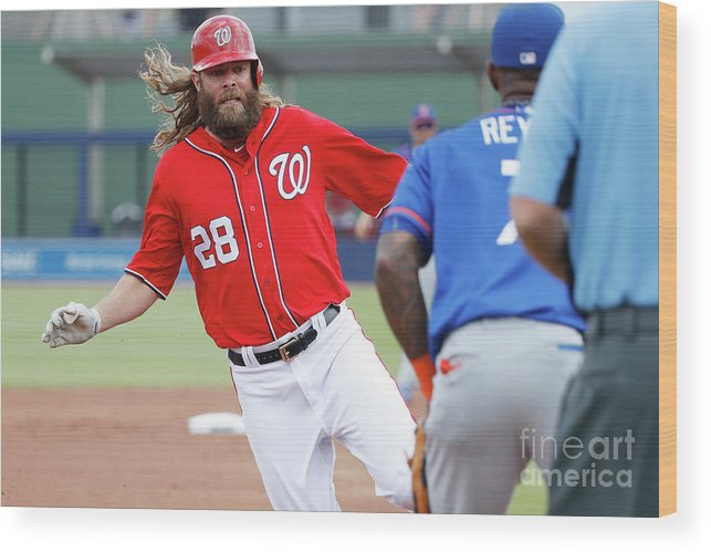 Three Quarter Length Wood Print featuring the photograph Jayson Werth and Bryce Harper by Joe Robbins