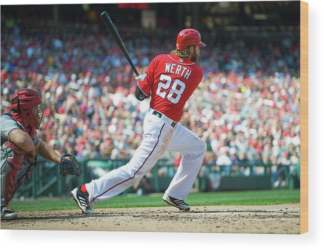 Motion Wood Print featuring the photograph Jayson Werth by Rob Tringali