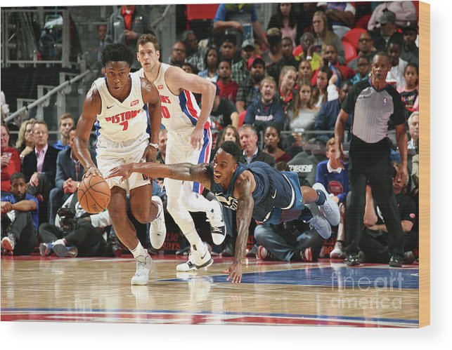 Nba Pro Basketball Wood Print featuring the photograph Jeff Teague and Stanley Johnson by Brian Sevald