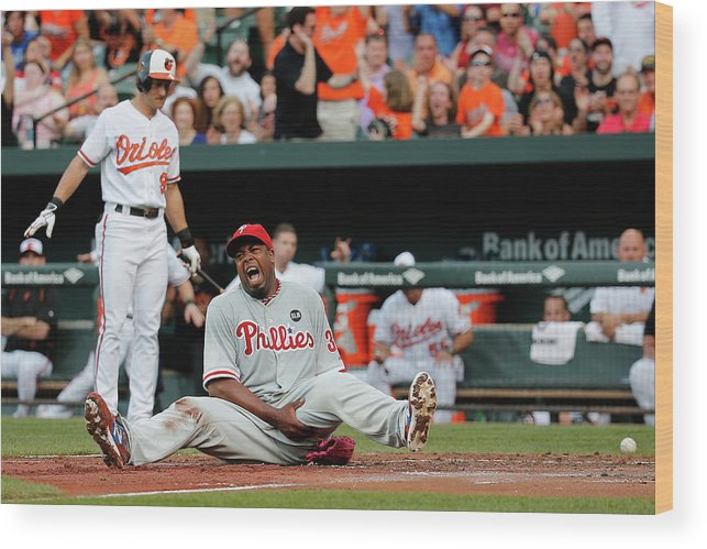People Wood Print featuring the photograph Jerome Williams and Ryan Flaherty by Rob Carr