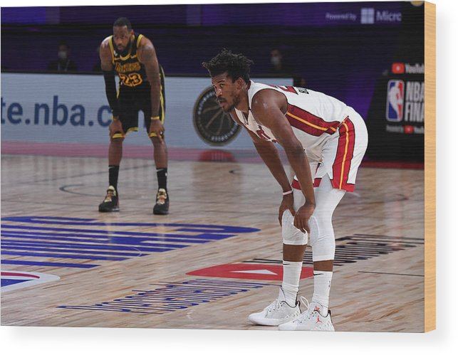 Playoffs Wood Print featuring the photograph Jimmy Butler and Lebron James by Andrew D. Bernstein