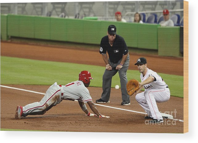 American League Baseball Wood Print featuring the photograph Jimmy Rollins and Nick Green by Marc Serota