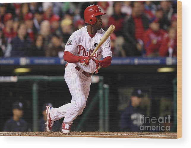 American League Baseball Wood Print featuring the photograph Jimmy Rollins by Jed Jacobsohn