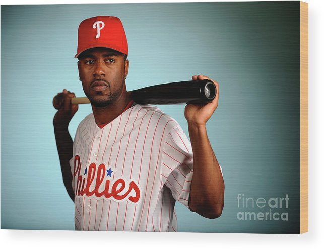Media Day Wood Print featuring the photograph Jimmy Rollins by Robert Laberge