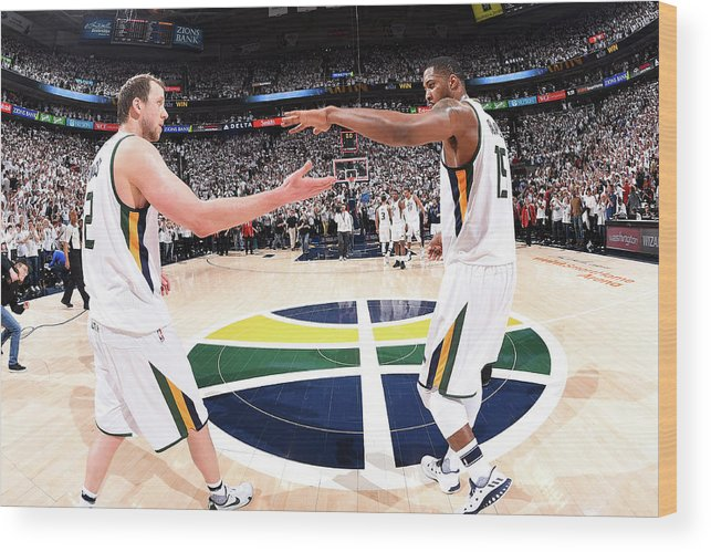 Playoffs Wood Print featuring the photograph Joe Ingles and Derrick Favors by Andrew D. Bernstein
