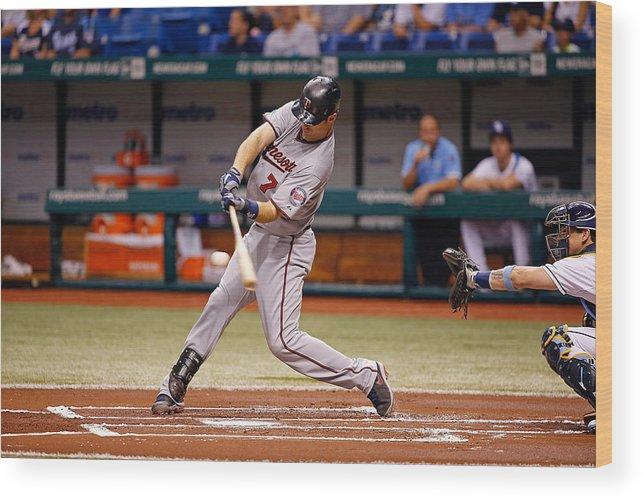 Baseball Catcher Wood Print featuring the photograph Joe Mauer by J. Meric