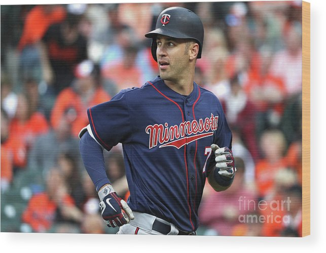 Looking Over Shoulder Wood Print featuring the photograph Joe Mauer by Patrick Smith