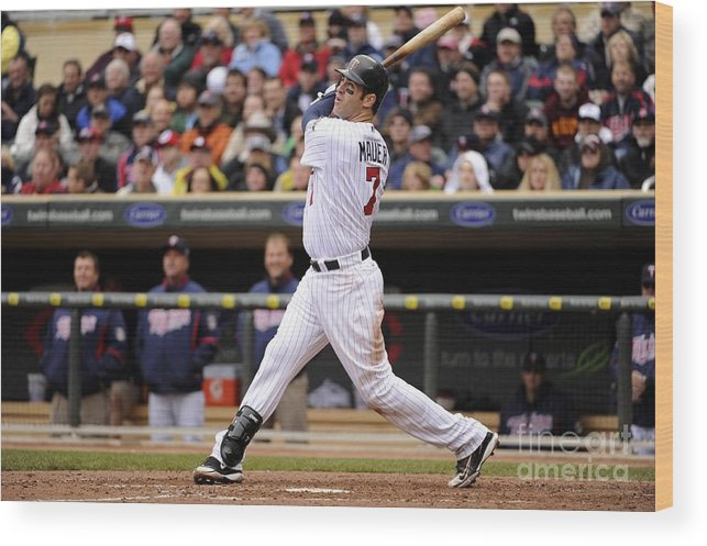 Joe Mauer Wood Print featuring the photograph Joe Mauer by Ron Vesely