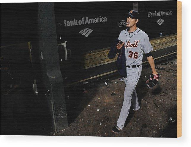 American League Baseball Wood Print featuring the photograph Joe Nathan by Patrick Mcdermott
