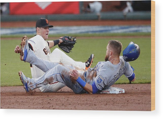 San Francisco Wood Print featuring the photograph Joe Panik and Alex Gordon by Thearon W. Henderson