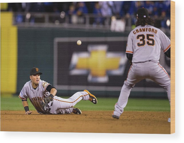 Playoffs Wood Print featuring the photograph Joe Panik and Brandon Crawford by Brad Mangin