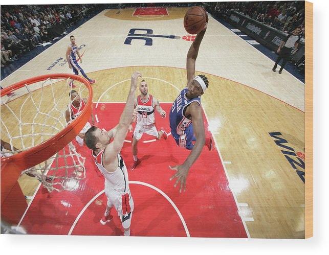 Nba Pro Basketball Wood Print featuring the photograph Joel Embiid by Ned Dishman