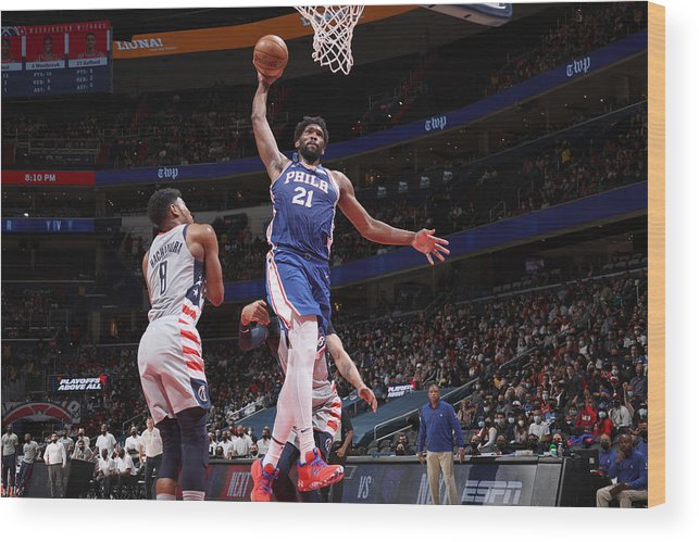 Playoffs Wood Print featuring the photograph Joel Embiid by Stephen Gosling