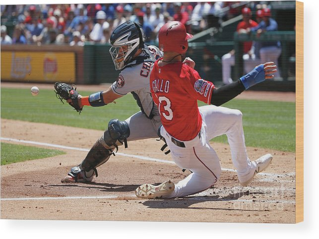 People Wood Print featuring the photograph Joey Gallo and Robinson Chirinos by Ron Jenkins