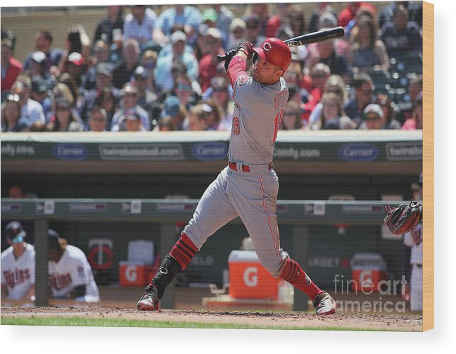 People Wood Print featuring the photograph Joey Votto by Adam Bettcher