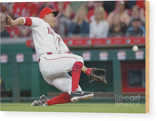 Great American Ball Park Wood Print featuring the photograph Joey Votto by Michael Hickey