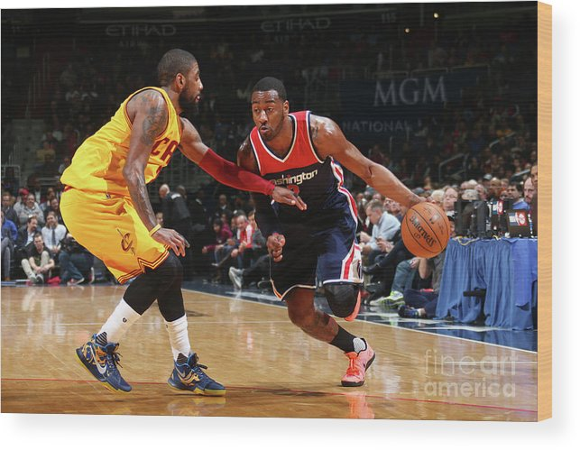 Nba Pro Basketball Wood Print featuring the photograph John Wall and Kyrie Irving by Ned Dishman