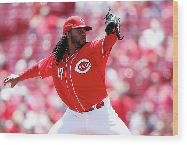 Great American Ball Park Wood Print featuring the photograph Johnny Cueto by Joe Robbins