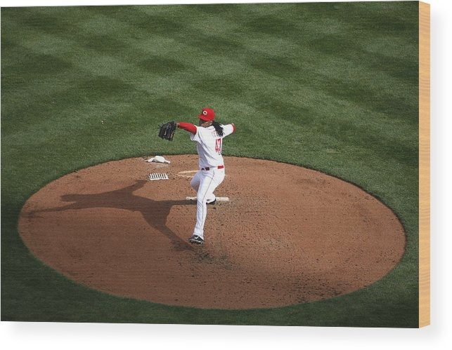 Great American Ball Park Wood Print featuring the photograph Johnny Cueto by John Grieshop