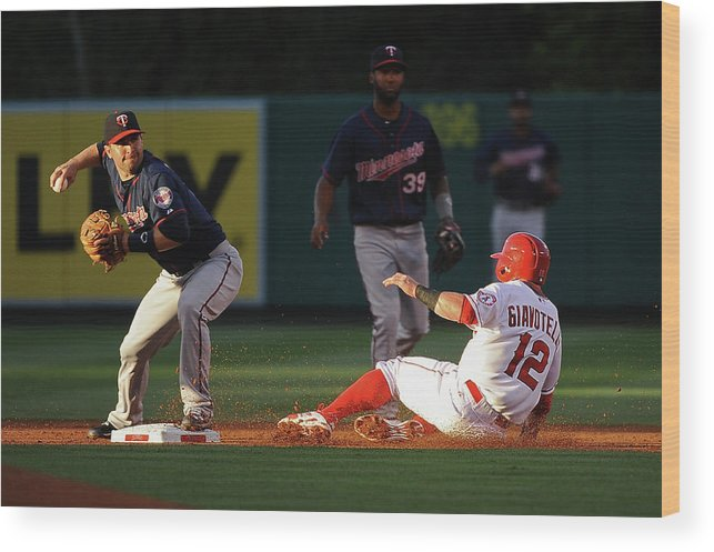 People Wood Print featuring the photograph Johnny Giavotella and Brian Dozier by Jonathan Moore