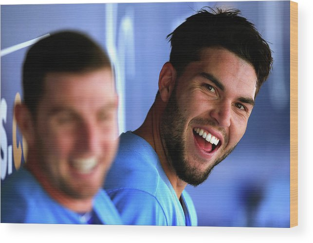 American League Baseball Wood Print featuring the photograph Johnny Giavotella and Eric Hosmer by Jamie Squire