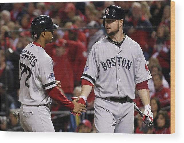 American League Baseball Wood Print featuring the photograph Jon Lester and Xander Bogaerts by Rob Carr