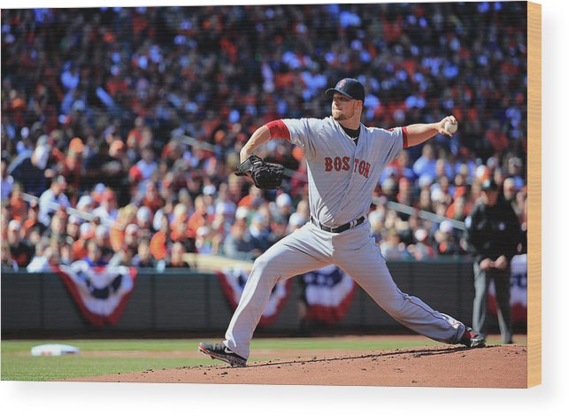 American League Baseball Wood Print featuring the photograph Jon Lester by Rob Carr