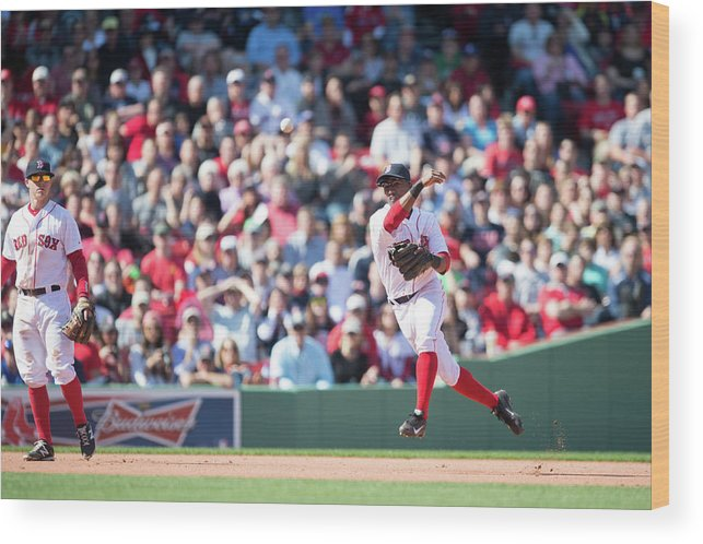 East Wood Print featuring the photograph Jonathan Herrera and Xander Bogaerts by Rob Tringali