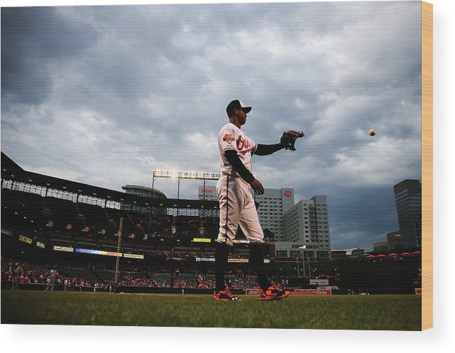 American League Baseball Wood Print featuring the photograph Jonathan Schoop by Rob Carr