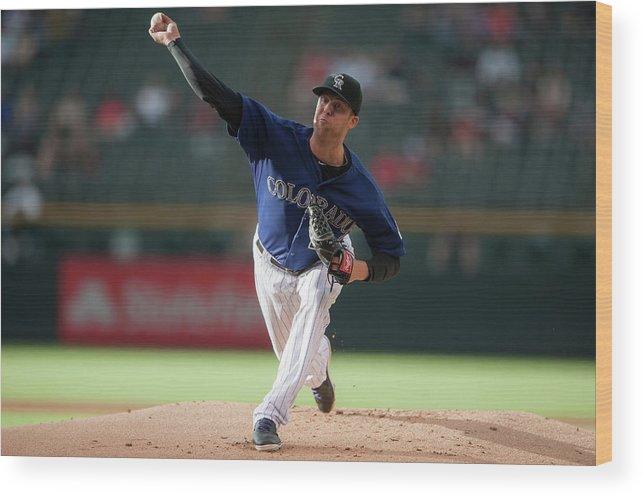 Baseball Pitcher Wood Print featuring the photograph Jordan Lyles by Dustin Bradford