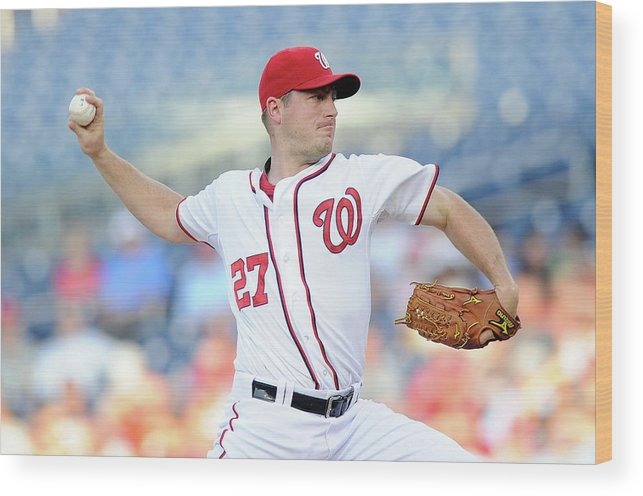 American League Baseball Wood Print featuring the photograph Jordan Zimmermann by Greg Fiume