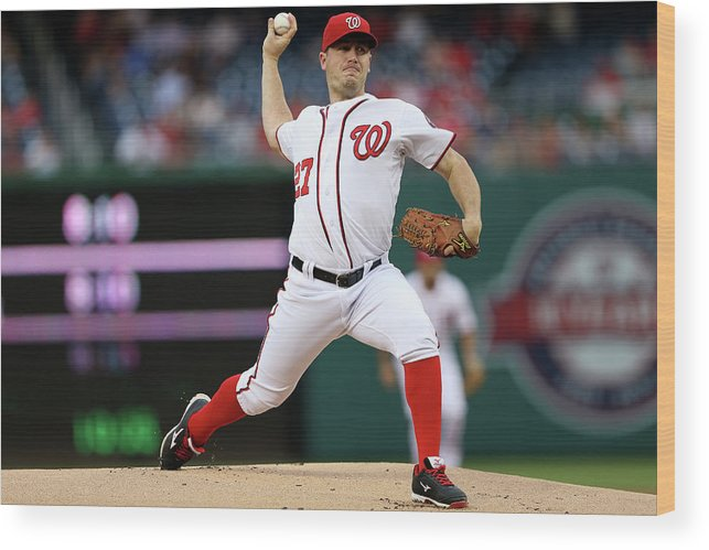Working Wood Print featuring the photograph Jordan Zimmermann by Patrick Smith