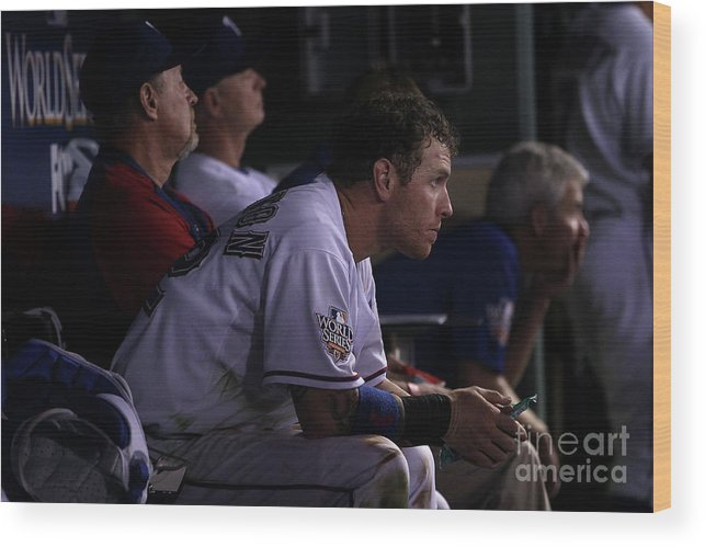 American League Baseball Wood Print featuring the photograph Josh Hamilton by Christian Petersen