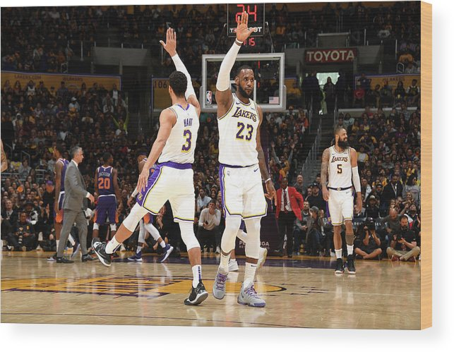 Nba Pro Basketball Wood Print featuring the photograph Josh Hart and Lebron James by Andrew D. Bernstein