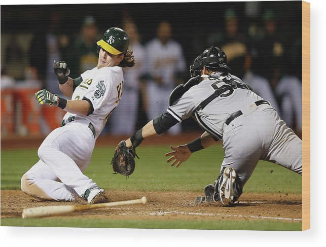 People Wood Print featuring the photograph Josh Reddick, Billy Butler, and Geovany Soto by Ezra Shaw