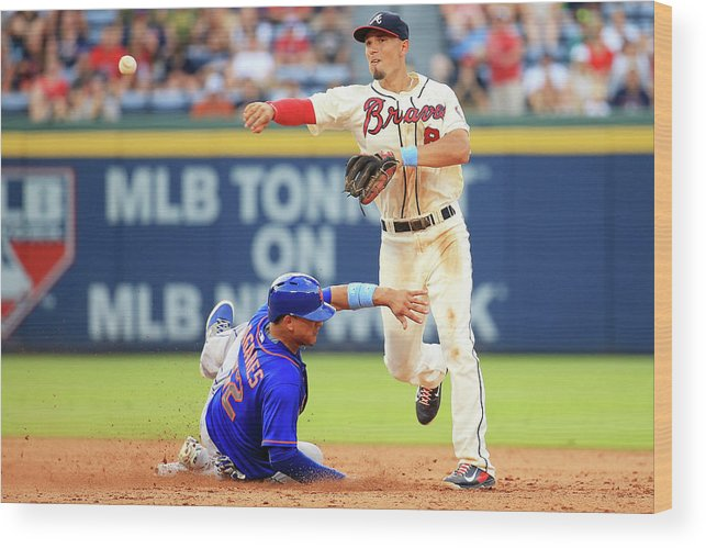 Atlanta Wood Print featuring the photograph Juan Lagares and Jace Peterson by Daniel Shirey