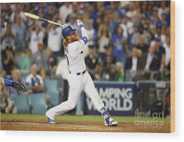Game Two Wood Print featuring the photograph Justin Turner by Ezra Shaw