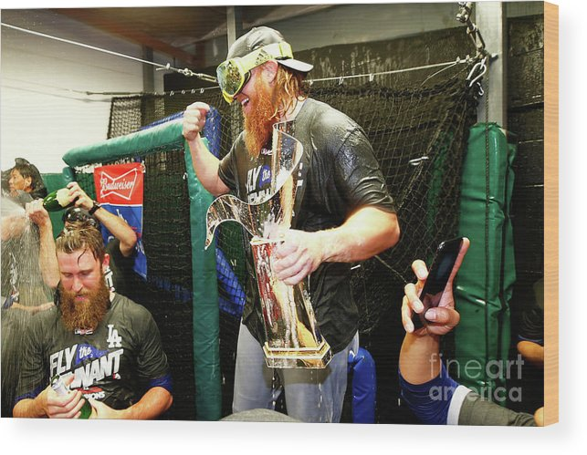 Championship Wood Print featuring the photograph Justin Turner by Jamie Squire