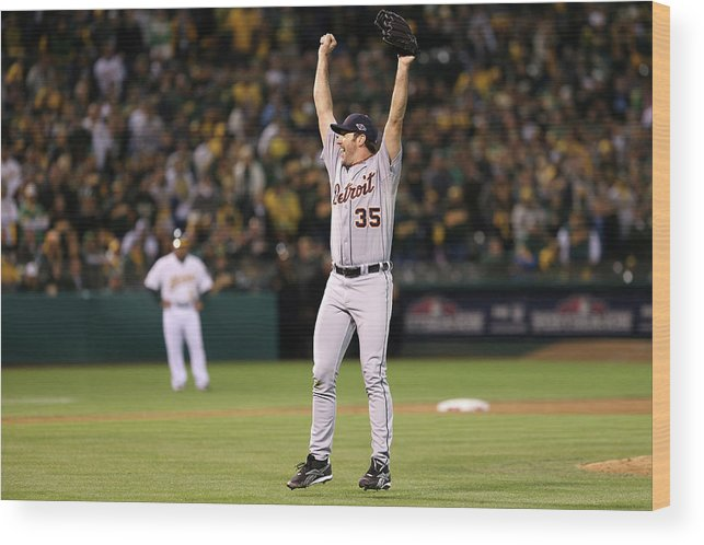 Playoffs Wood Print featuring the photograph Justin Verlander by Ezra Shaw