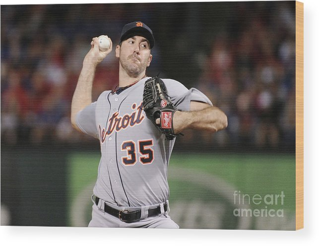 American League Baseball Wood Print featuring the photograph Justin Verlander by Harry How