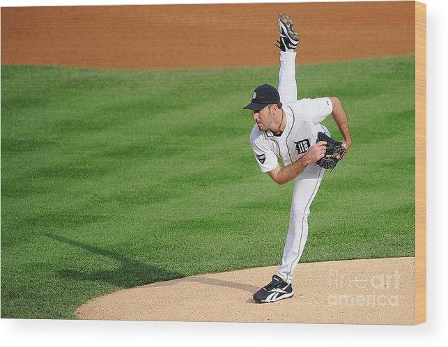 American League Baseball Wood Print featuring the photograph Justin Verlander by Kevork Djansezian