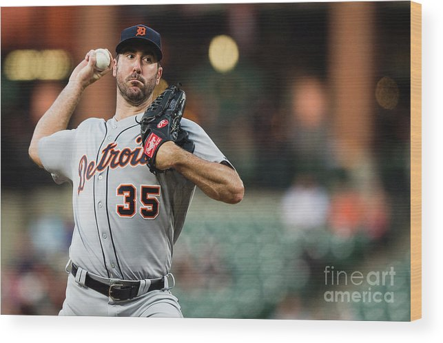 Second Inning Wood Print featuring the photograph Justin Verlander by Patrick Mcdermott