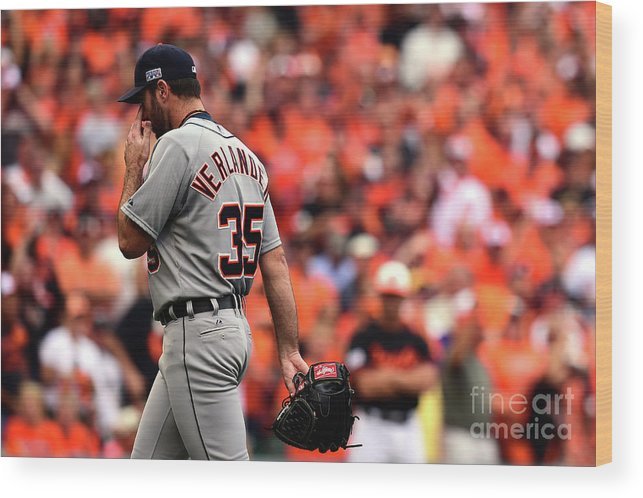 Game Two Wood Print featuring the photograph Justin Verlander by Patrick Smith