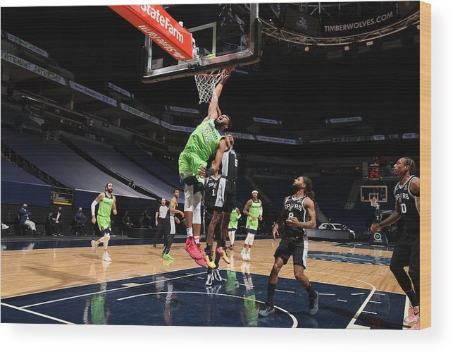 Nba Pro Basketball Wood Print featuring the photograph Karl-anthony Towns by David Sherman