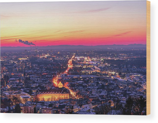 Karlsruhe Wood Print featuring the photograph Karlsruhe in winter at sunset by Hannes Roeckel