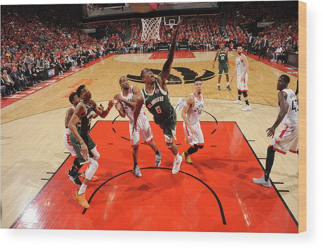 Playoffs Wood Print featuring the photograph Kawhi Leonard and Eric Bledsoe by Ron Turenne