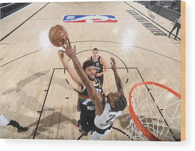 Playoffs Wood Print featuring the photograph Kawhi Leonard and Jamal Murray by Andrew D. Bernstein