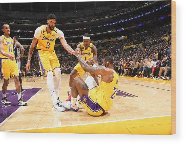 Nba Pro Basketball Wood Print featuring the photograph Kentavious Caldwell-pope, Anthony Davis, and Lebron James by Andrew D. Bernstein