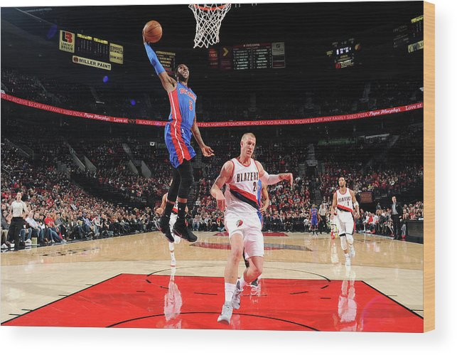Nba Pro Basketball Wood Print featuring the photograph Kentavious Caldwell-pope by Cameron Browne